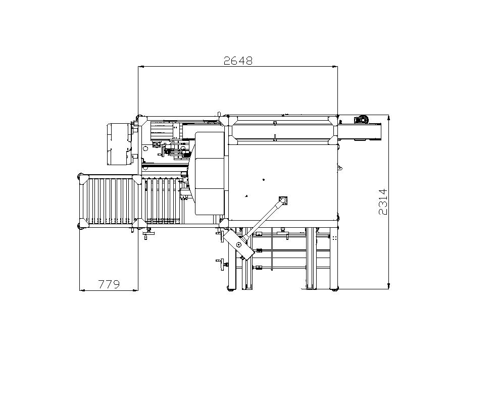 Plan view of New Versapack (integrated case erector/case packer) with dimensions